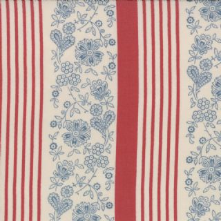 Moda Le Bouquet Francais by French General - 3218 - Blue Laverna Floral/Stripes on Cream 13663 18